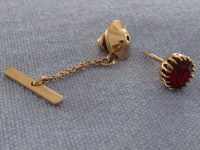 Sophos Vintage Tie Tack - Gold Plated with Red Jewel circa ...
